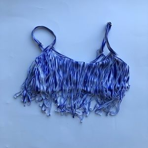 Blue and white fringe bikini top extra small